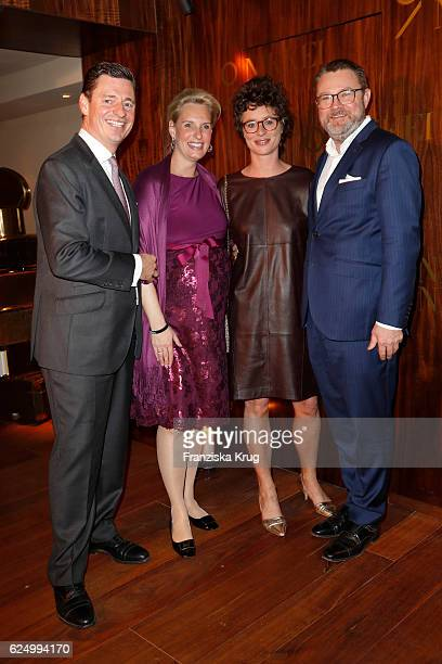 Ingo C Peters Christiane Peters Ina Krug and Christian Krug attend the Nikkei Nine restaurant opening at The Fairmont Hotel Vier Jahreszeiten on...