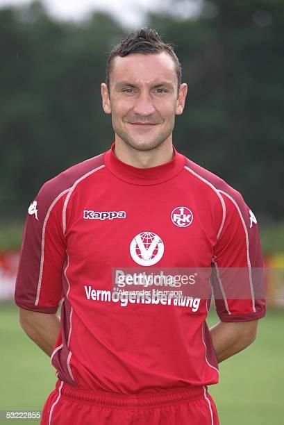 Ingo Hertzsch looks in the camera during the team presentation of 1FC Kaiserslautern for the Bundesliga season 2005 2006 on July 10 2005 in...