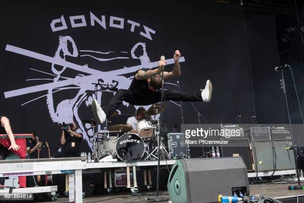 Ingo Knollmann of the Donots performs on stage during the second day of 'Rock am Ring' on June 3 2017 in Nuerburg Germany