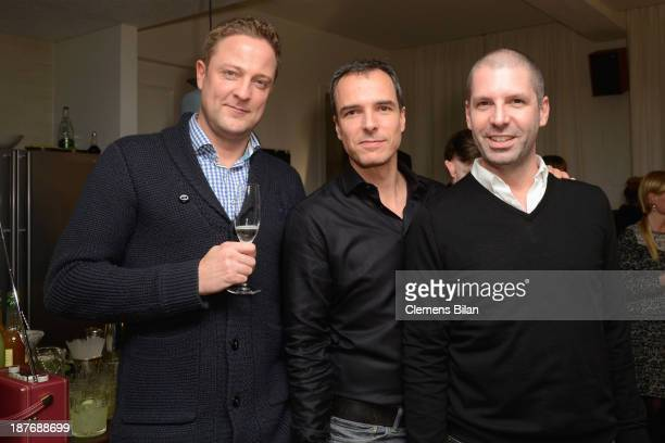 Ingo Sturies Sascha Wolff and Raymond Santiago attend the launch of the Berlin Lofts by Soho House and the Vinyl Factory on November 11 2013 in...