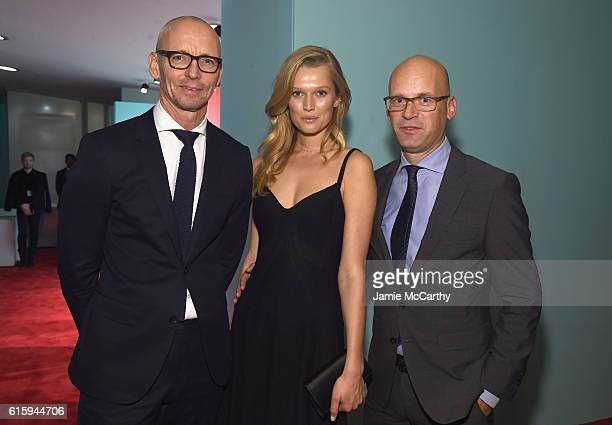 Ingo Wilts CBO HUGO BOSS Model Toni Garrn and Mark Langer CEO HUGO BOSS attend HUGO BOSS and GUGGENHEIM celebration of the 20th Anniversary of the...