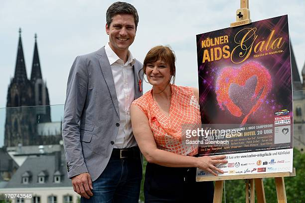 Ingo Zamperoni and Andreja Schneider pose during the Aidshilfe Cologne Photocall at Maritim Hotel on June 17, 2013 in Cologne, Germany. The 22nd...