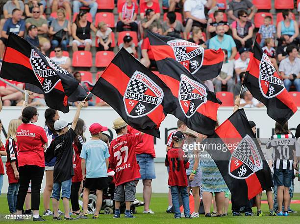 Ingolstadt fans welcome the team to the stadium on the first day of training at Audi Sportpark on June 28 2015 in Ingolstadt Germany