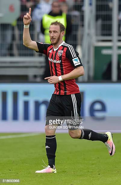 Ingolstadt's forward Moritz Hartmann celebrates scoring during the German first division Bundesliga football match FC Ingolstadt 04 vs FC Schalke 04...