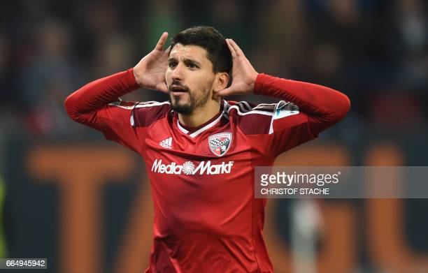 Ingolstadt's Israeli midfielder Almlog Cohen celebrates after the third goal for Ingolstadt during the German first division Bundesliga football...