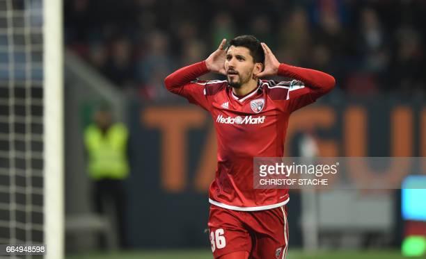Ingolstadt's Israeli midfielder Almlog Cohen celebrates after the third goal for Ingolstadt during the German first division Bundesliga football...