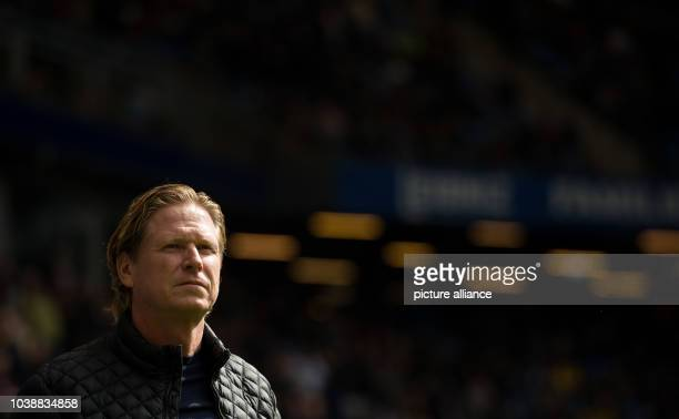 Ingolstadt's manager Markus Gisdol ahead of the German Bundesliga soccer match between FC Ingolstadt and Werder Bremen in the Audi Sport Park stadium...
