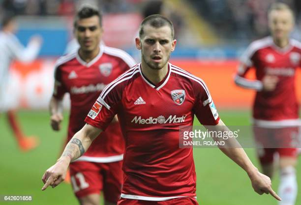 Ingolstadt's midfielder Pascal Gross celebrates scoring the 20 during the German First division Bundesliga football match Eintracht frankfurt vs FC...