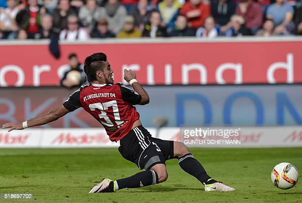 Ingolstadt's Paraguayan forward Dario Lezcano scores his team's third goal during the German first division Bundesliga football match FC Ingolstadt...
