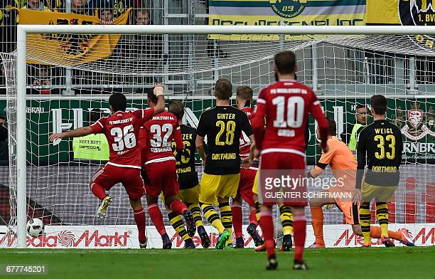 Ingolstadt's Paraguayan striker Dario Lezcano scores the second goal during the German first division Bundesliga football match between FC Ingolstadt...