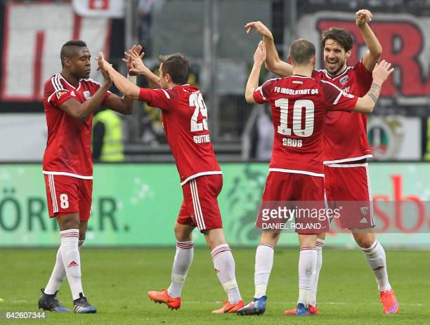 Ingolstadt's players celebrate the 20 victory after the German First division Bundesliga football match Eintracht frankfurt vs FC Ingolstadt 04 in...