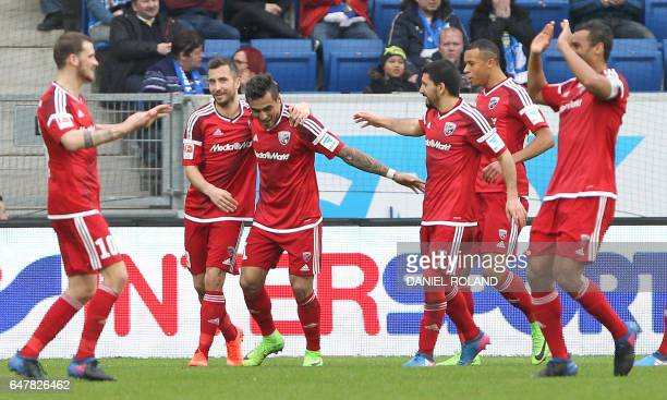 Ingolstadt's players celebrate the 21 goal during the German First division Bundesliga football match between TSG Hoffenheim and FC Ingolstadt 04 in...