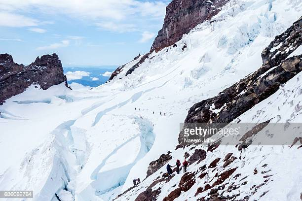 ingraham glacier - crevasse stock photos and pictures