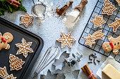Ingredients and utensils for Christmas cookies preparation