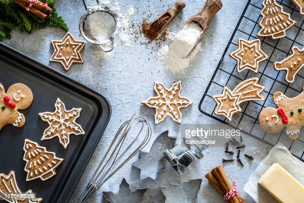 ingredients and utensils for christmas cookies preparation - baked stock pictures, royalty-free photos & images