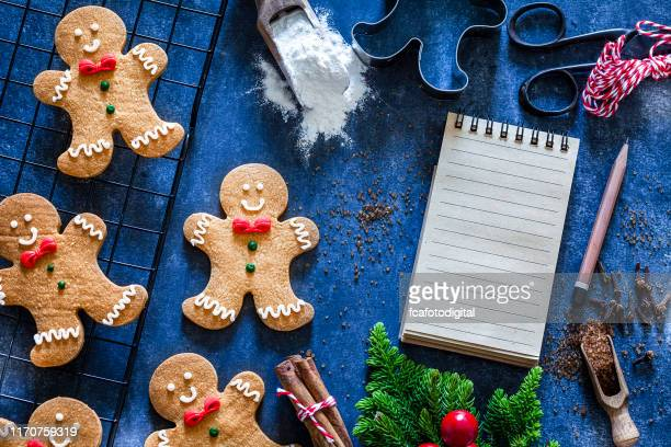 ingredients and utensils for christmas cookies preparation - baking sheet stock pictures, royalty-free photos & images