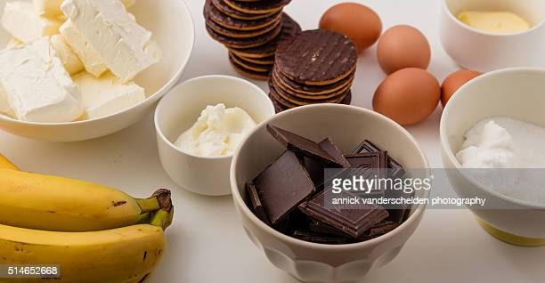 Ingredients chocolate cheesecake with banana.