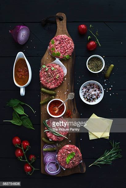 Ingredients for a meat burger