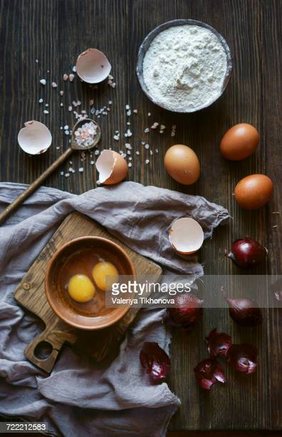 Ingredients for baking on wooden table