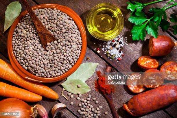 Ingredients for cooking spanish brown lentils