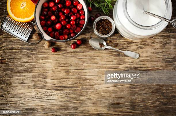 ingredients for cranberry sauce - spread food stock pictures, royalty-free photos & images