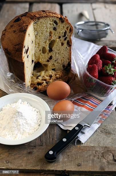 ingredients for french toast made using panettone and strawberries - panettone foto e immagini stock