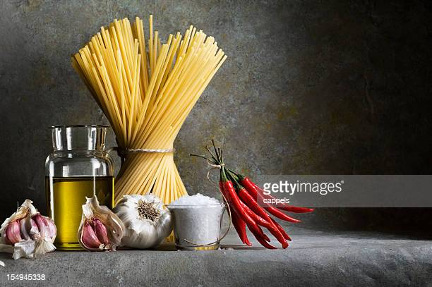 Ingredients For Garlic,Oil And Chilli Spaghetti.Color Image