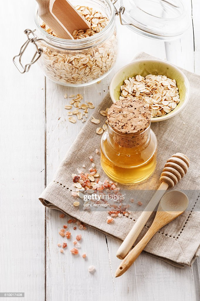 Ingredients for homemade scrub : Stock Photo