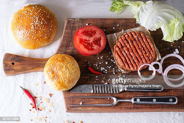 Ingredients for making burger