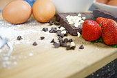 ingredients for making cake chocolate bar