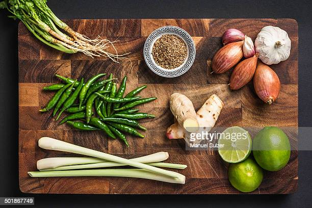 Ingredients for making green curry paste