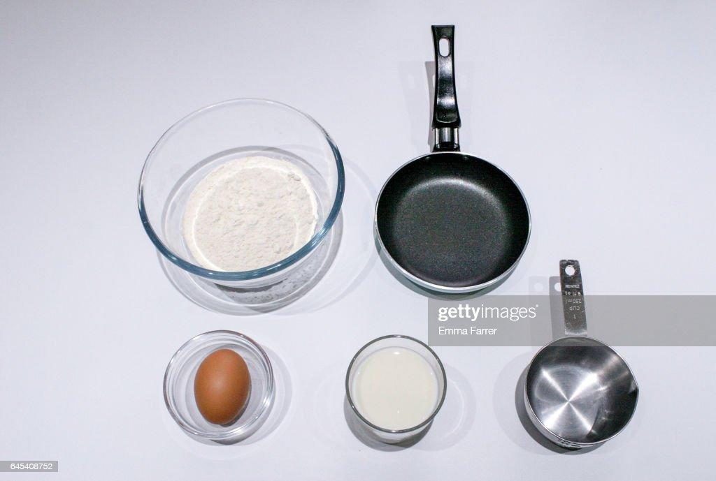 Ingredients for making pancakes for pancake day : Stock Photo