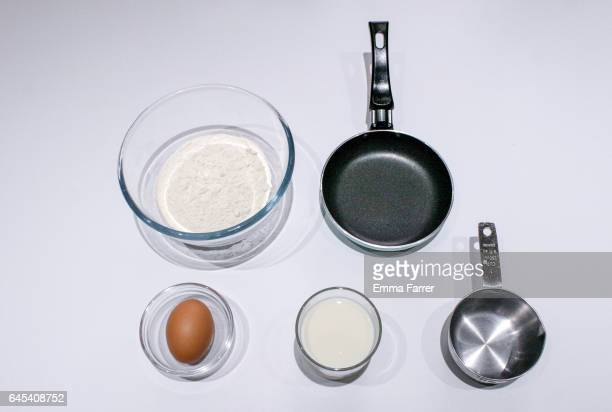 Ingredients for making pancakes for pancake day