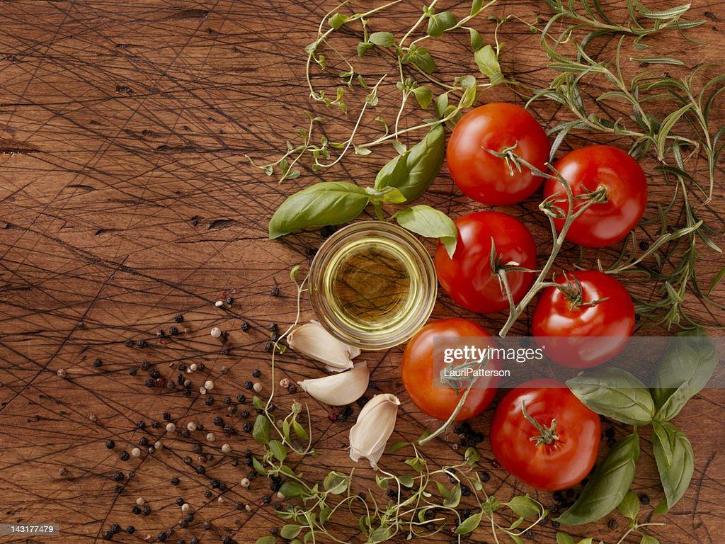 食材で作るスパゲティソース : ストックフォト