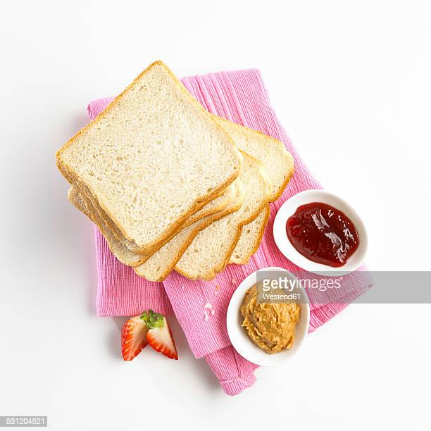Ingredients for peanut butter sandwich