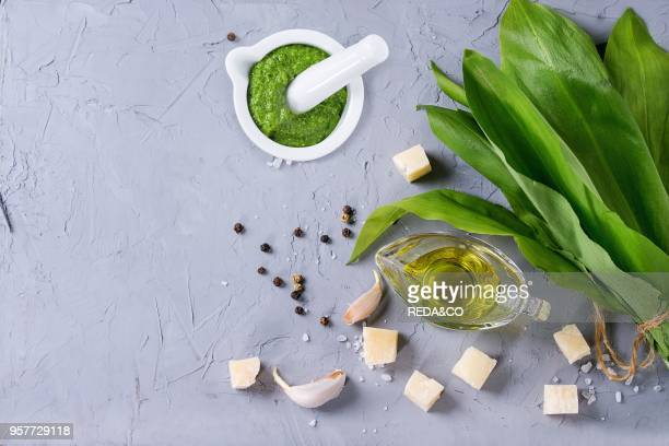 Ingredients for pesto and ramson pesto in ceramic mortar Bunch of ramson olive oil parmesan cheese garlic salt and pepper over gray textured...