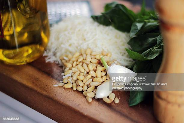 ingredients for pesto - gregoria gregoriou crowe fine art and creative photography stock photos and pictures