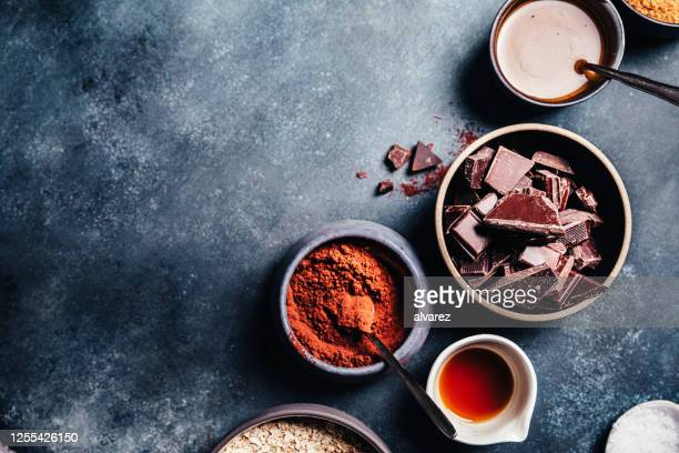ingredients for preparing brownies - kitchen worktop stock pictures, royalty-free photos & images