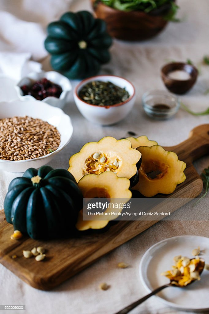 Ingredients for Roasted Acorn Squash Salad with Farro : Stock Photo