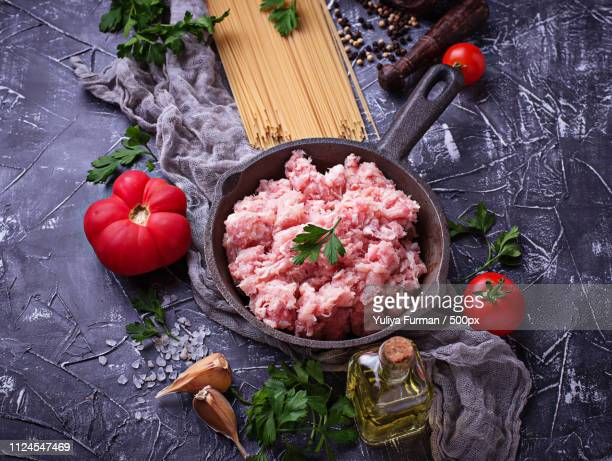 ingredients for spaghetti bolognese - for stock pictures, royalty-free photos & images