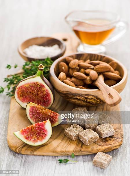ingredients for tart with figs - anna verdina stock photos and pictures