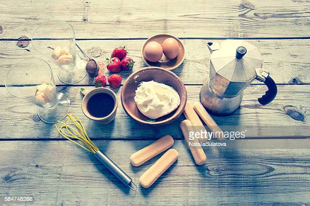 Ingredients for tiramisu cake