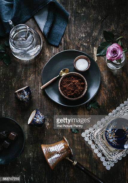 Ingredients (coffee, sugar, and water) for Turkish Coffee