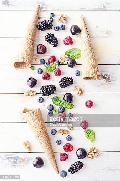 Ingredients form making berries ice cream