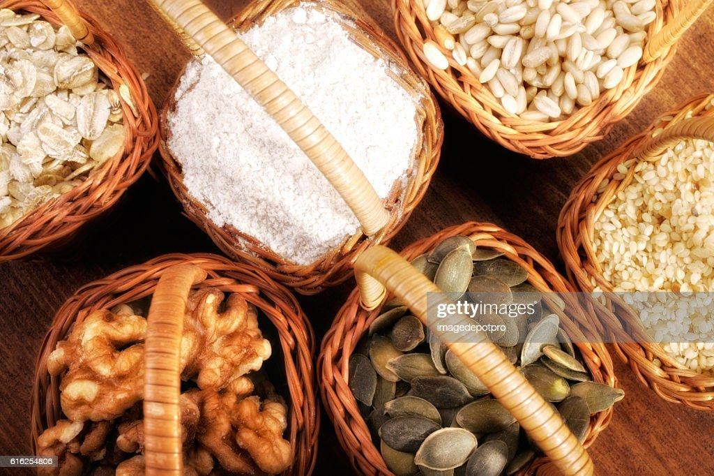 ingredients in baskets : Foto de stock