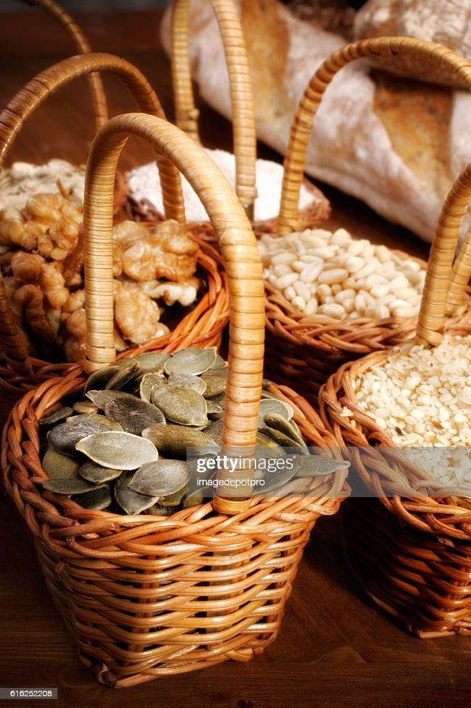 ingredients in little baskets : Foto de stock