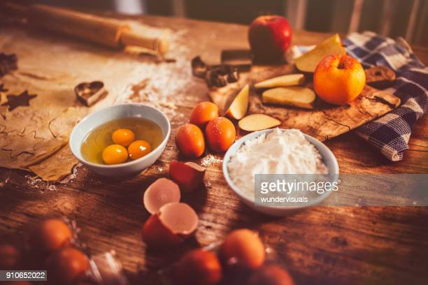 ingredients, kitchen utensils and dough for the preparation of pastry - old fashioned thanksgiving stock photos and pictures