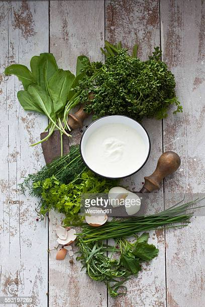 Ingredients of Frankfurt green sauce and mezzaluna
