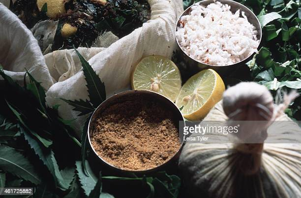 Ingredients used for a rice bag wash a traditional Ayurvedic treatment Born in India more than 5000 years ago Ayurveda is a holistic health...