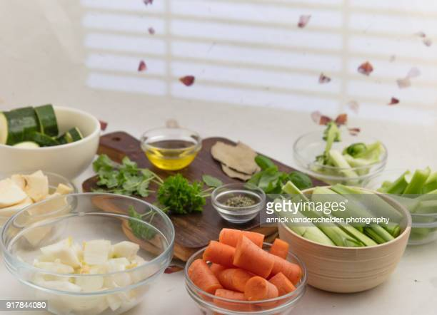 ingredients vegetable broth. - marrow squash stock pictures, royalty-free photos & images
